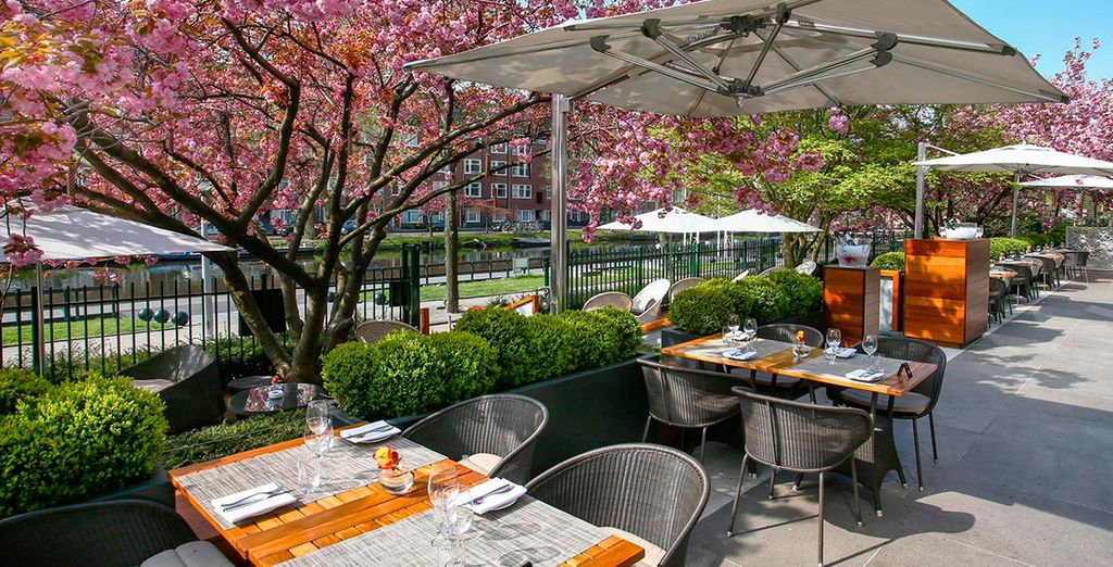 Enjoy a coffee on the waterfront terrace and soak up the sun