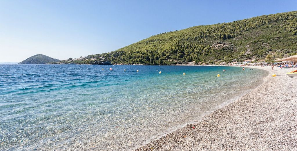Located right beside the beach on the beautiful island of Skopelos