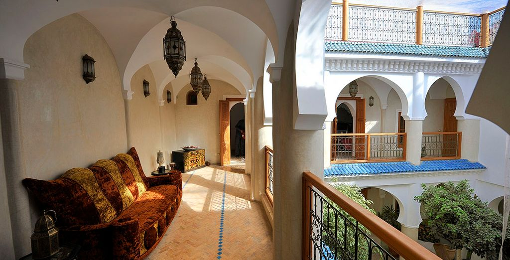 Or lounge on the terrace overlooking the courtyard