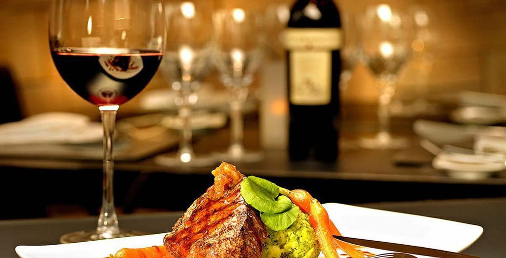Enjoy fine food and wine in the restaurant