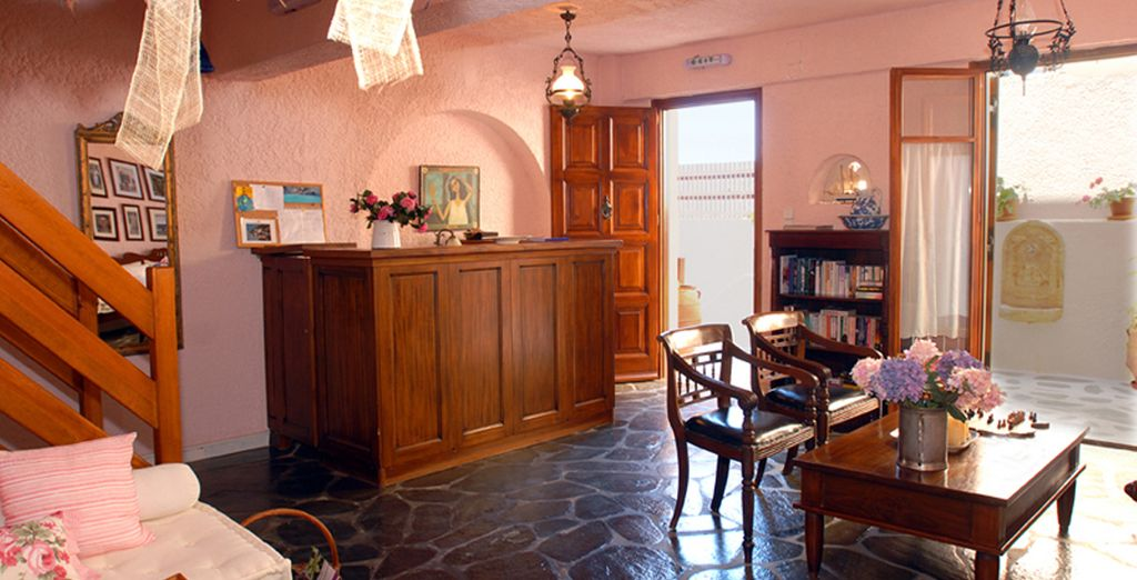 Be greeted in the intimate reception area