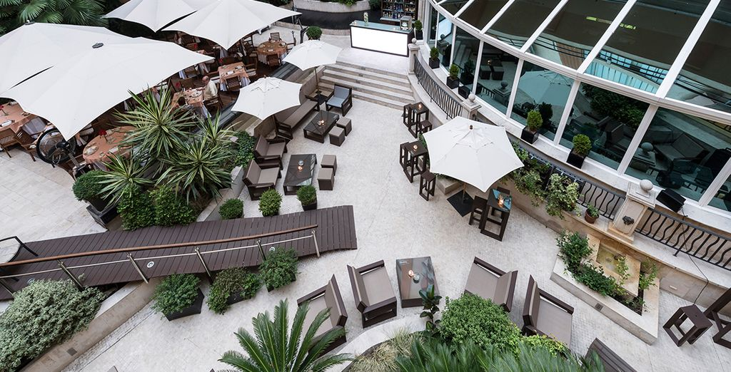 In the warmer months, relax on the terrace with a glass of wine