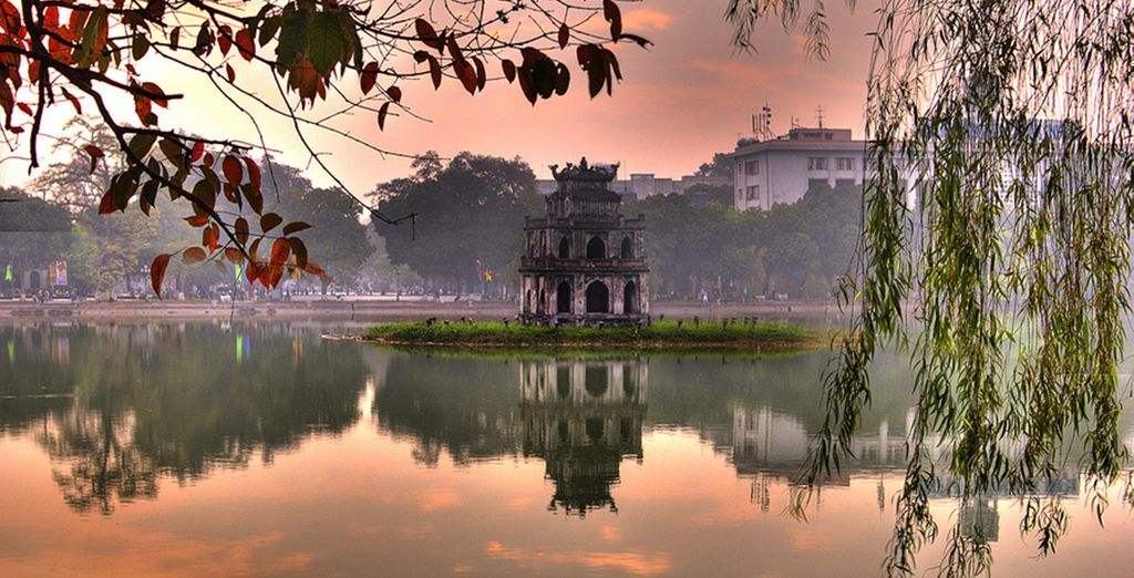 Start in Hanoi, where you will find ancient temples...