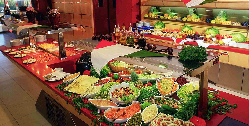 Feast on international delicacies at the Buffet restaurant