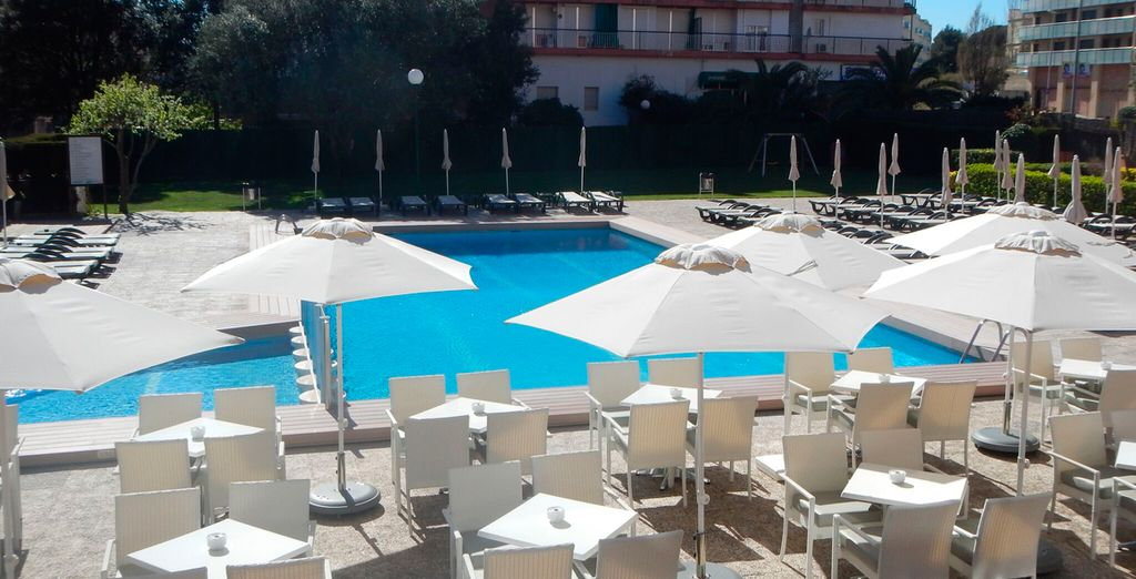 Then relax at the poolside