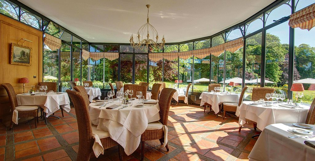 At the restaurant with views of the park