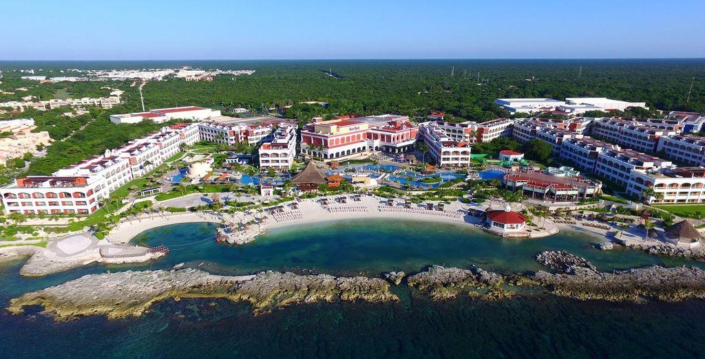 A sprawling all inclusive resort spread across the Cancun coastline