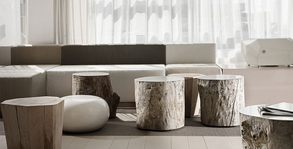 Interiors are minimalist in style, with lots of natural textures...