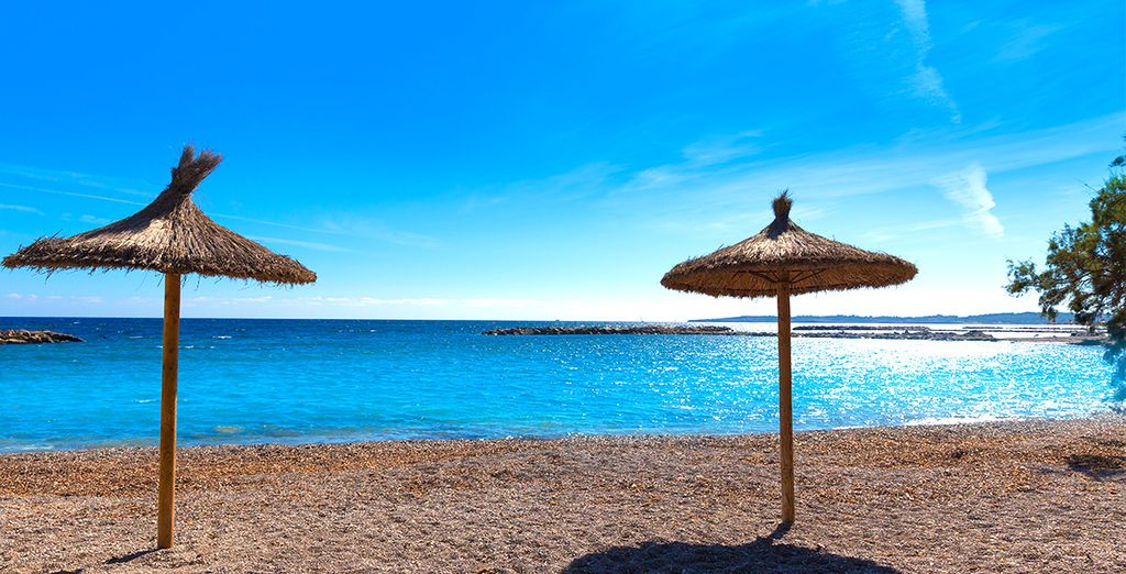 On the beautiful sandy beach of Cala Bona