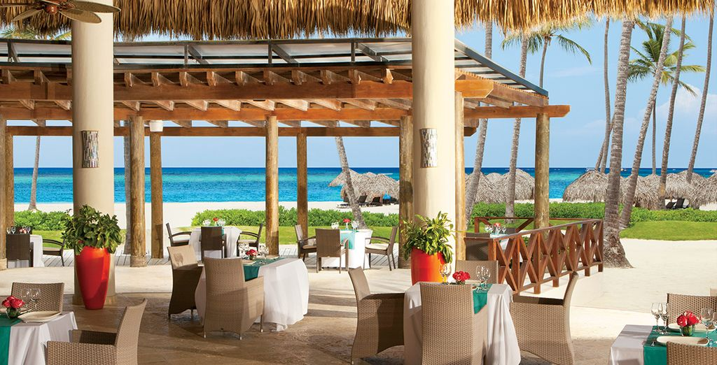 Dine in stylish surroundings at either one of the 7 restaurants at Now Larimar Resort