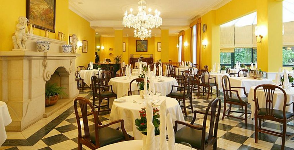 Before dining on delicious local fare in the hotel's elegant restaurant