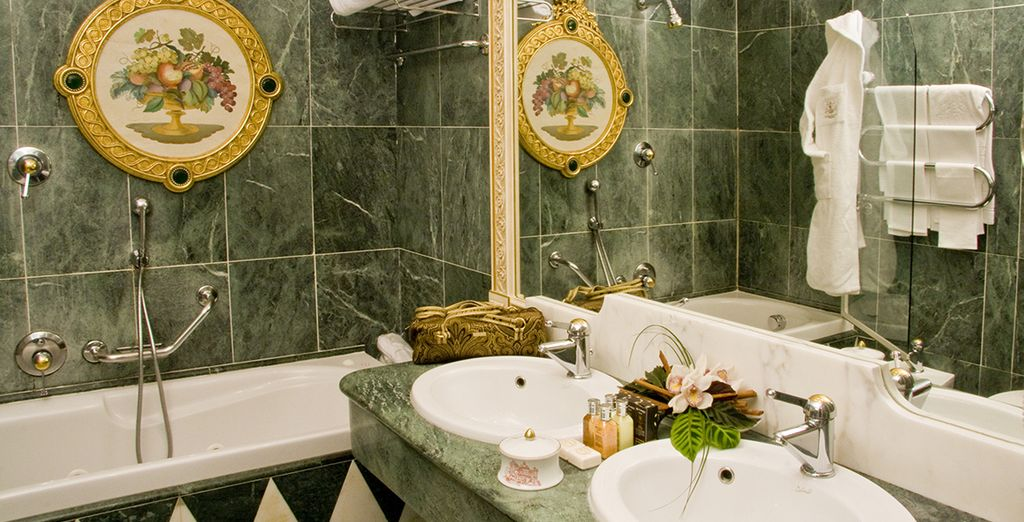 Every aspect of the hotel oozes opulence, including your bathroom!