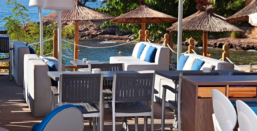 Unwind at the beach club and catch a great glimpse of the sea