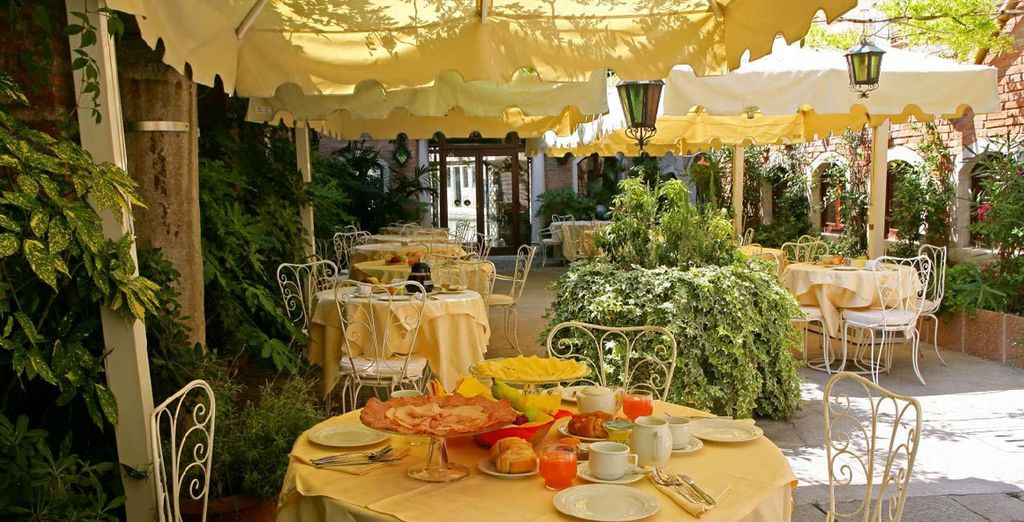 Enjoy a meal out on the terrace if the weather's fine