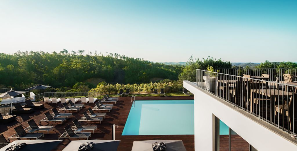 Dip into the outdoor pool