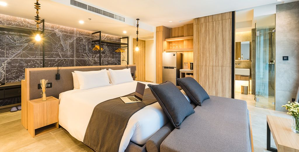 Your room is adorned in modern and contemporary decor