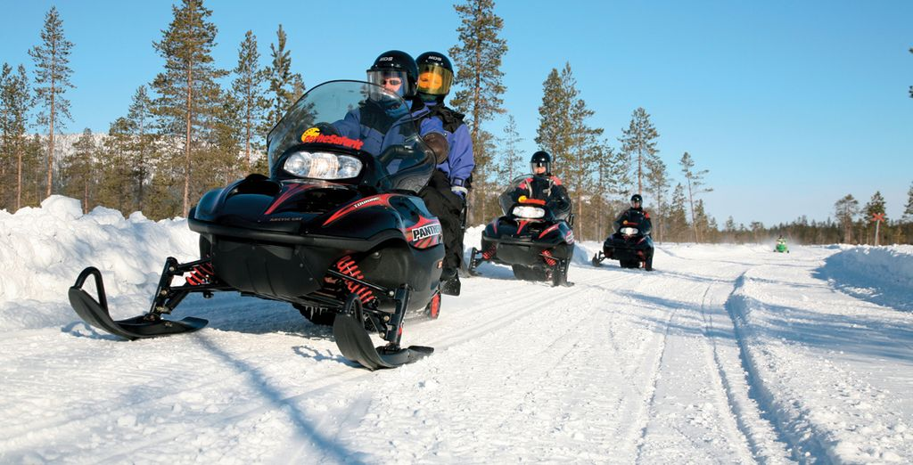 Choose from a range of optional excursions too, such as snowmobiling