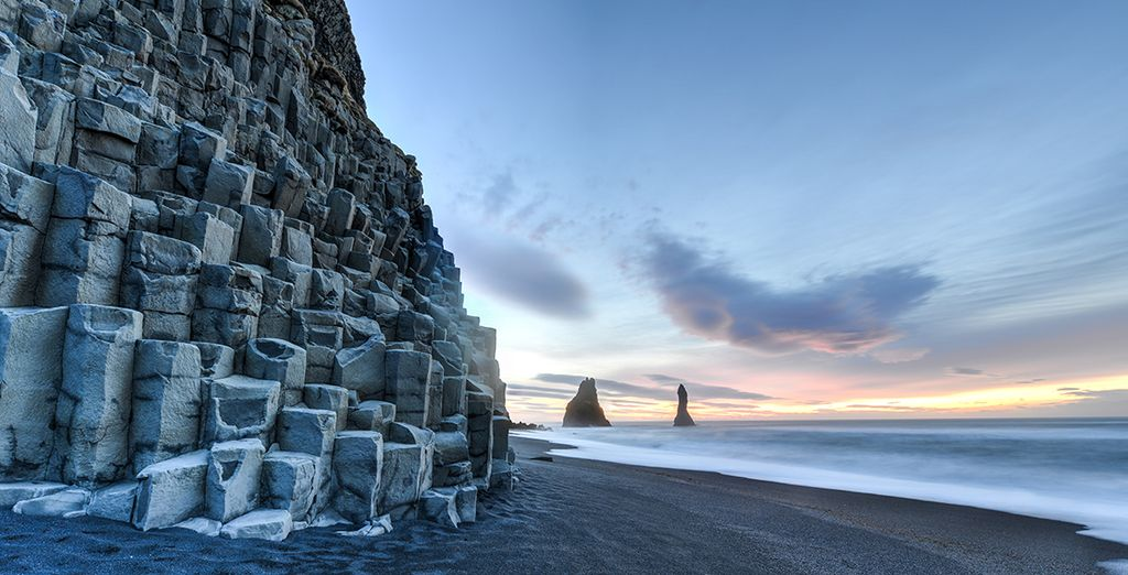 7 night stays also include a tour of South Iceland's black sand beaches...