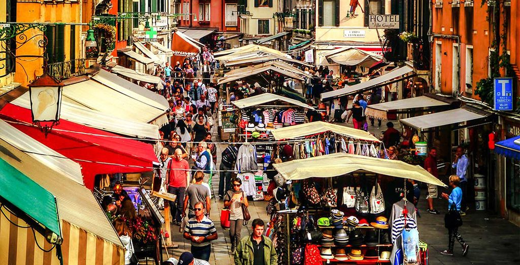 Your hotel is just round the corner from a thriving street market