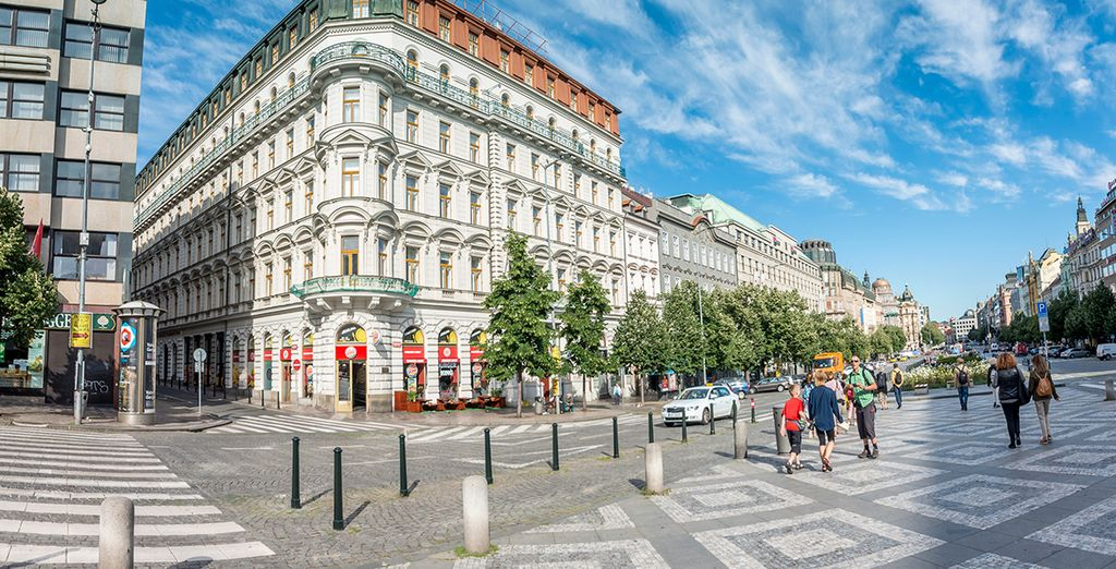 Your hotel is perfectly placed right on Wenceslas Square