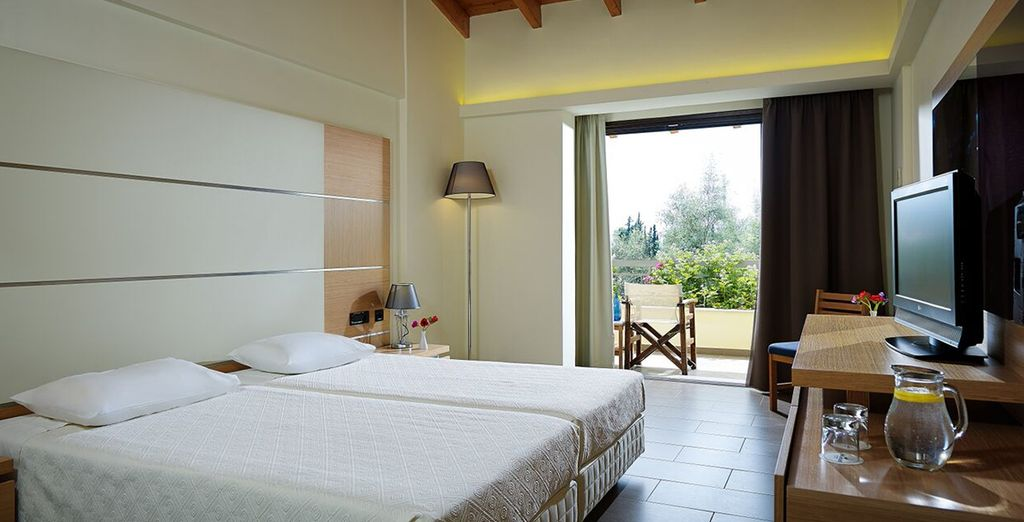 Your room has a view of the gardens and includes half board dining