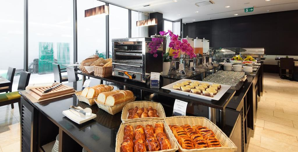 And enjoy a daily buffet breakfast