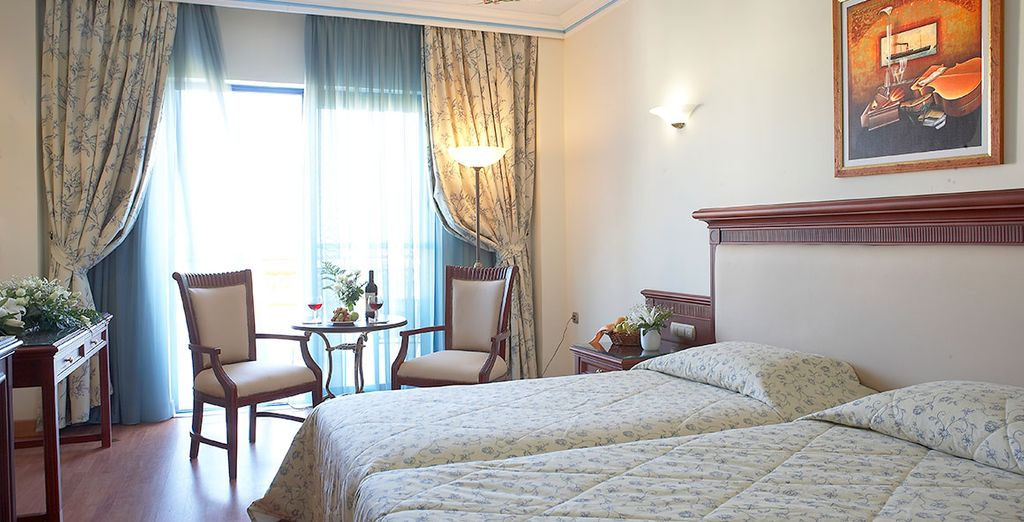 Our members can choose between a Double Room with a Sea or Side Sea View