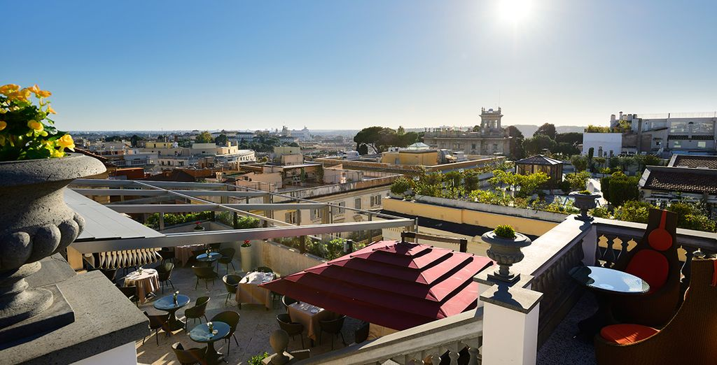 With incredible rooftop views...