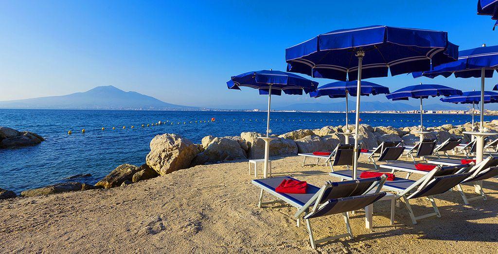 Or soak up the sunshine on the private beach, enjoying awe-inspiring volcano vistas