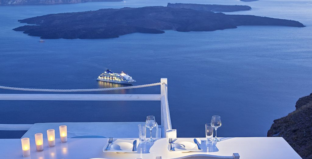 Enjoy your meals overlooking the endless blue ocean