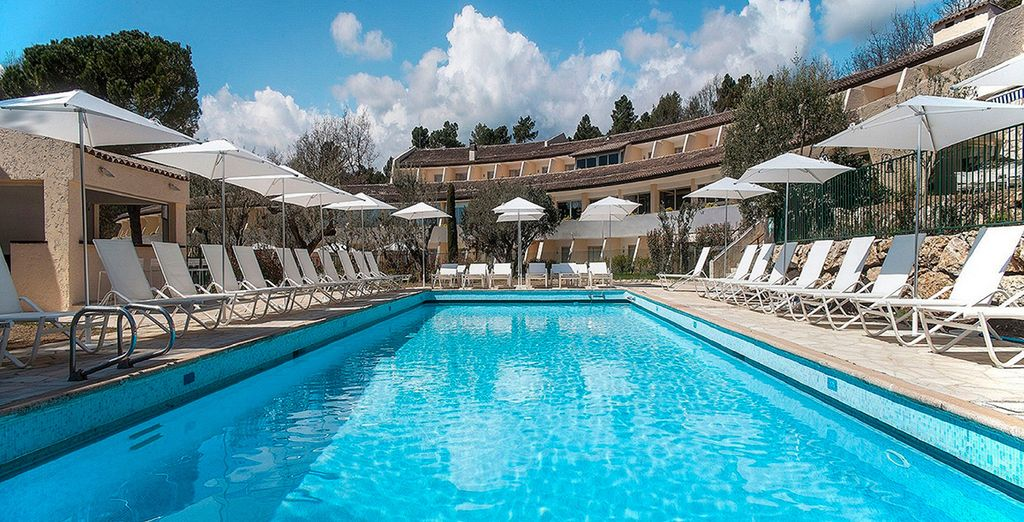 Relax by the pool in the warmer months