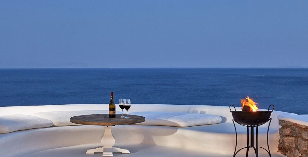 You can unwind by the poolside at night with a glass of wine