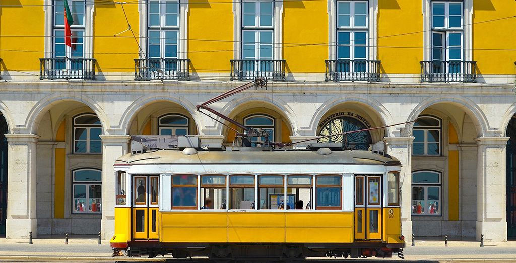 Hop on a yellow tram and explore