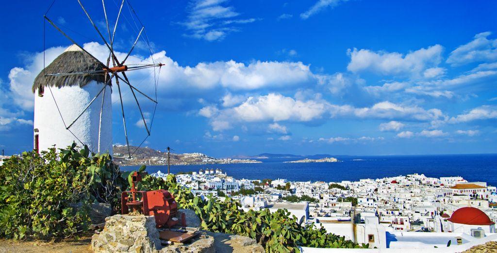 to Mykonos' famous windmills