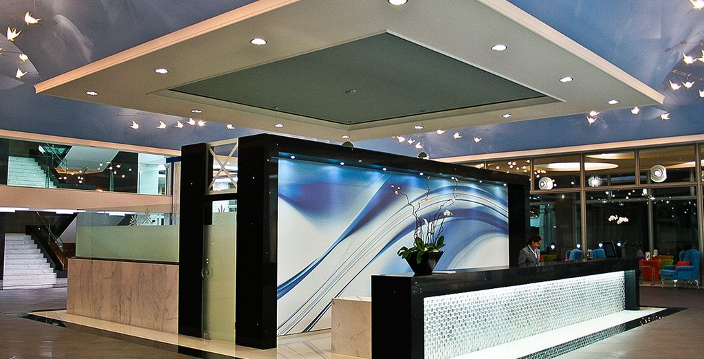 Walk through the glittering hotel lobby