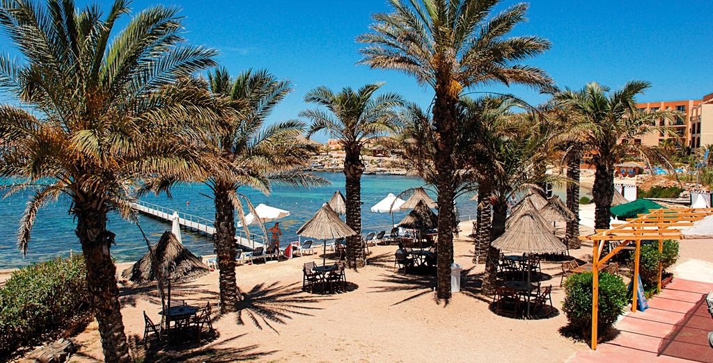 Head to the nearby sun-dappled beach and top up on your vitamin D