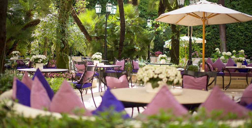 Soak up the sun on the hotel's sun bathed terrace surrounded by the heady aroma of roses