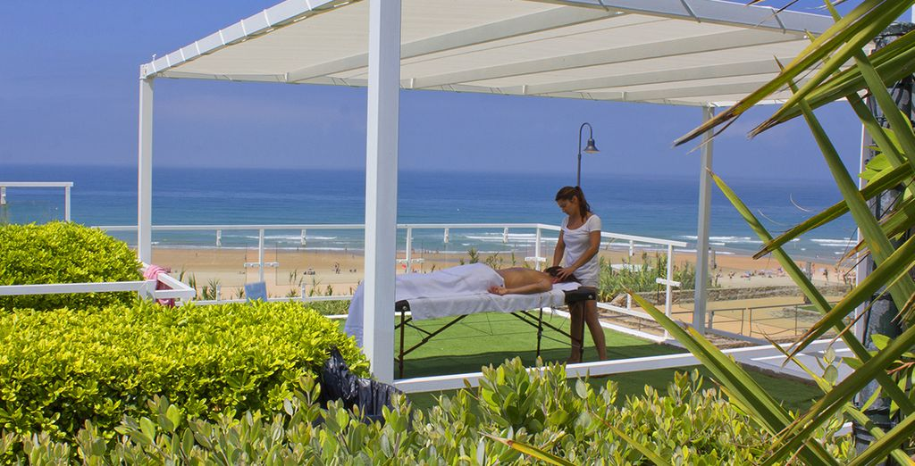 Relax your muscles with massage to the sounds of the ocean