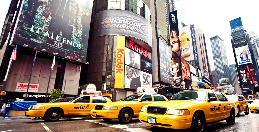 Hop in a famous, yellow taxi and explore the Big Apple