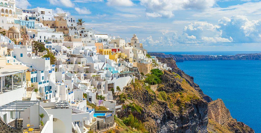 Explore nearby Fira, the island capital...