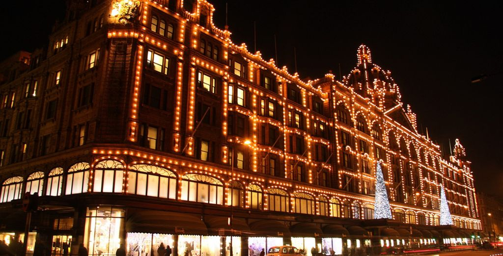 including the bright lights and grandeur of nearby Harrods