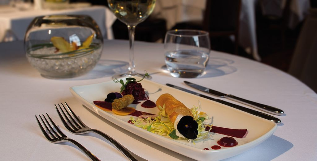 You will receive a free meal the first night of your stay along with a pre-dinner glass of bubbly and canapes