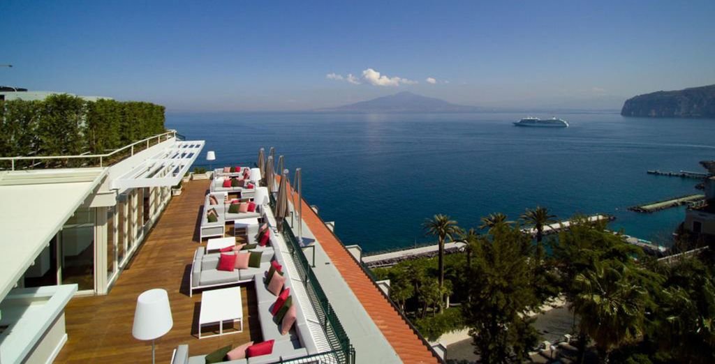 Gazing out to the bay of Naples with Mount Vesuvius