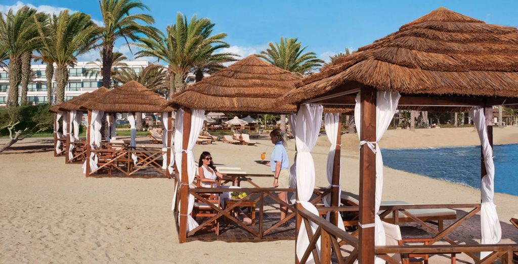 Or head for the chic shaded cabanas on the beach