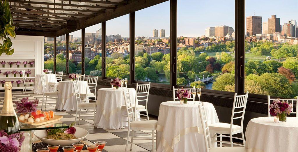 An enchanting hotel overlooking lush gardens
