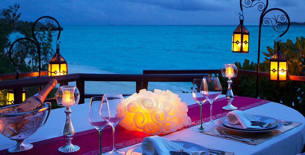 As you dine overlooking the sea...