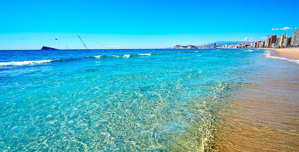 cristal water on a private beach in Benidorm