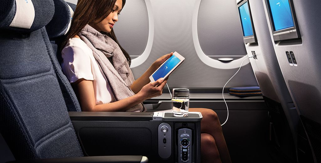 If you travel on certain dates you will recieve a complimentary upgrade to Premium Economy seats!