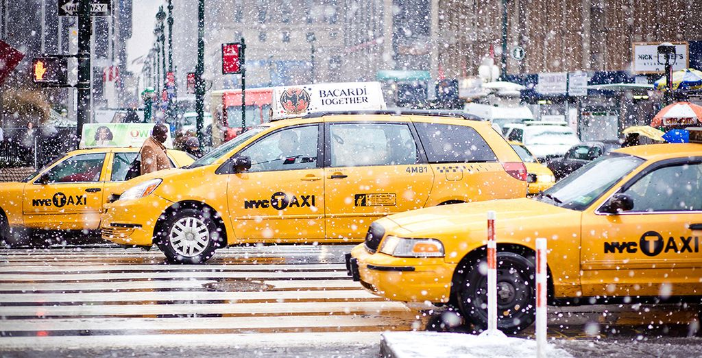And iconic New York sights become snowy