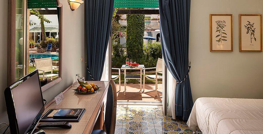 Feature pretty patios or a garden terrace